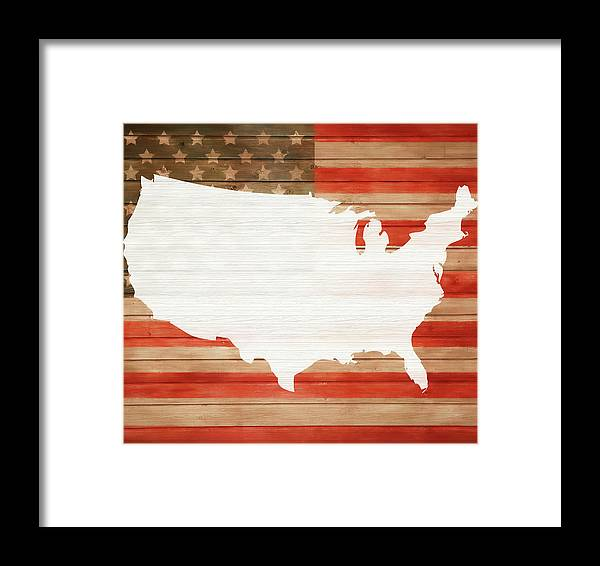 America Rustic Map On Wood Framed Print featuring the mixed media America Rustic Map On Wood by Dan Sproul