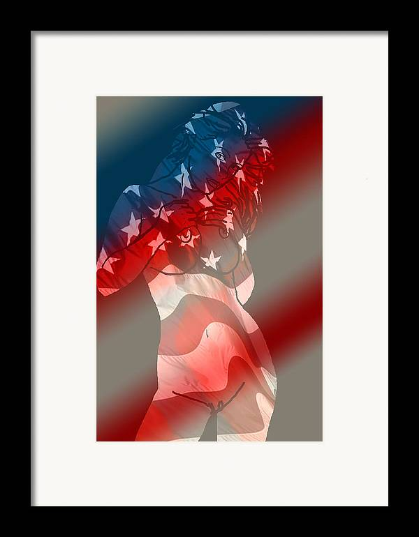 Nude Art Framed Print featuring the painting America by Tbone Oliver