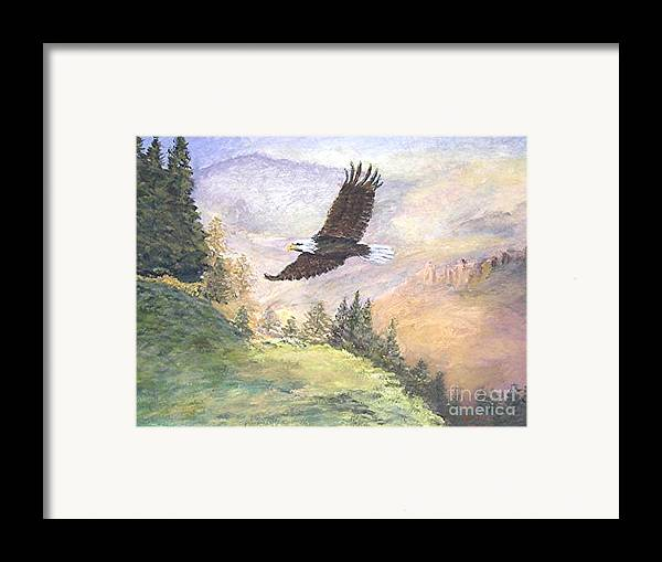Landscape Painting Framed Print featuring the painting American Bald Eagle by Nicholas Minniti