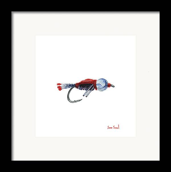 American Framed Print featuring the painting American Bead Head by Sean Seal