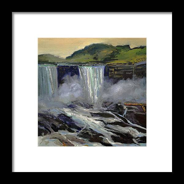 Niagara Falls Framed Print featuring the painting American Bridal Veil Falls by J R Baldini