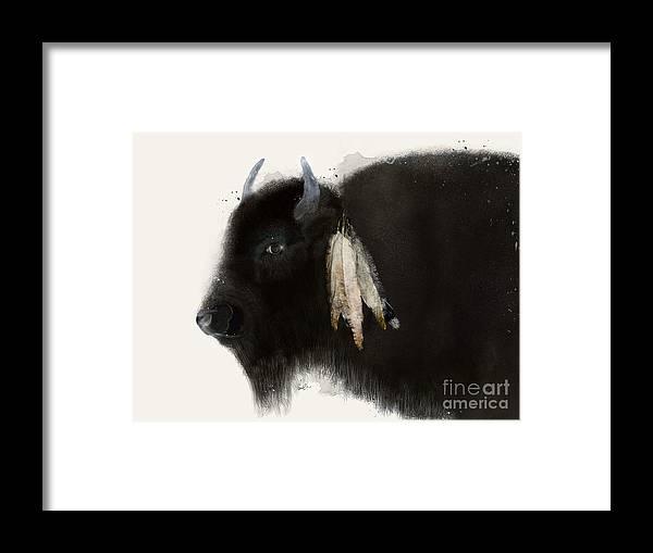 Buffalo Framed Print featuring the painting American Buffalo by Bri Buckley