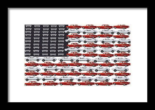 Car Framed Print featuring the digital art American Classics by Darryl Kravitz