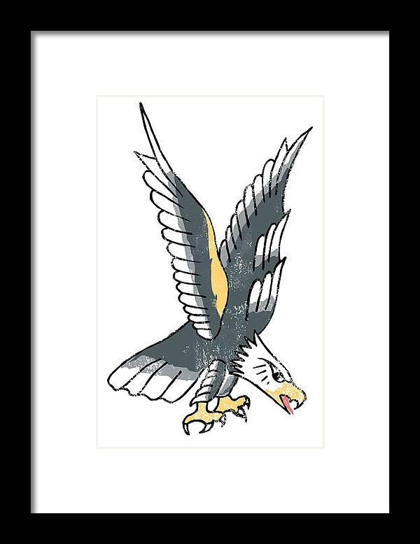 Americana Framed Print featuring the digital art American Eagle Tattoo by Bob Newman
