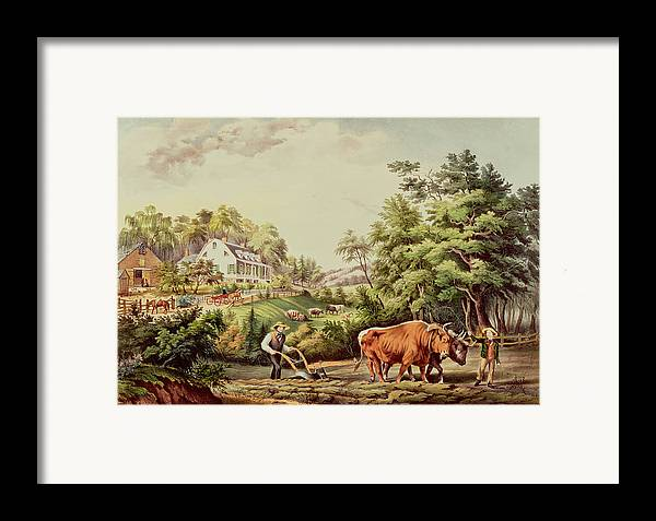 American Framed Print featuring the painting American Farm Scenes by Currier and Ives