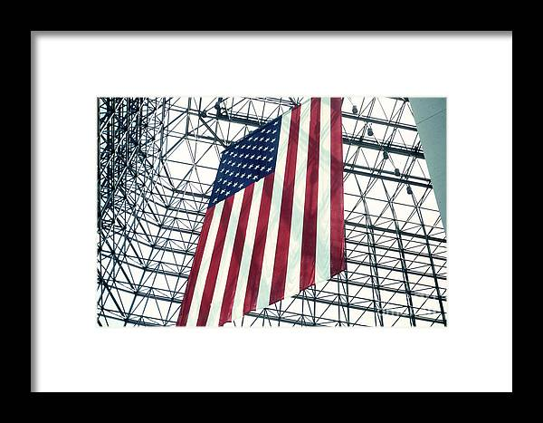 Flag Framed Print featuring the photograph American Flag In Kennedy Library Atrium - 1982 by Thomas Marchessault