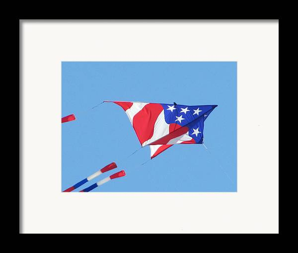 Kite Fyling Framed Print featuring the photograph American Flag Kite by Gregory Smith
