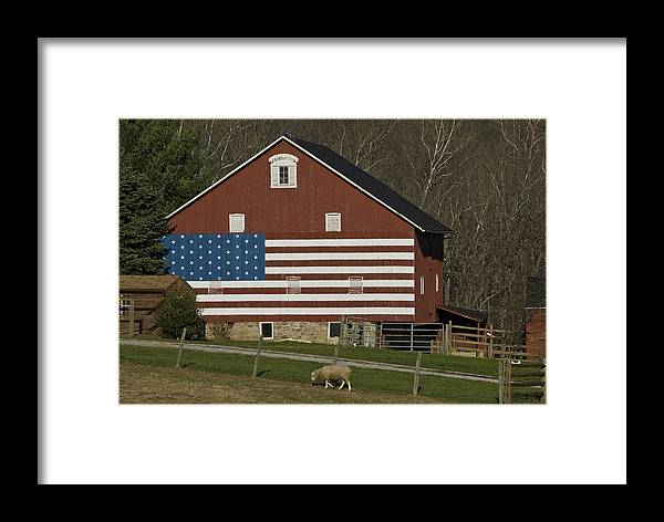 Barn Framed Print featuring the photograph American Flag Painted On The Side by Todd Gipstein
