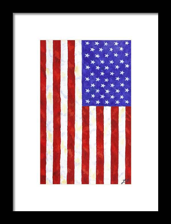 american flag vertical framed print by linda mears