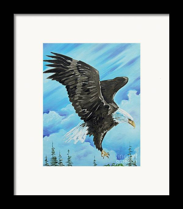 Bald Eagle Framed Print featuring the painting American Flight by Joseph Palotas