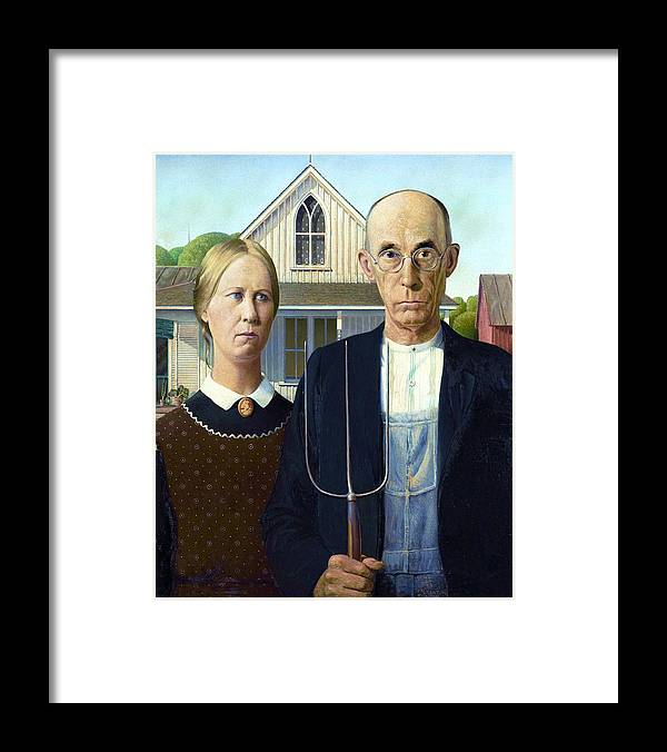 Pd: Gnu: Reproduction Framed Print featuring the painting American Gothic by Pg Reproductions