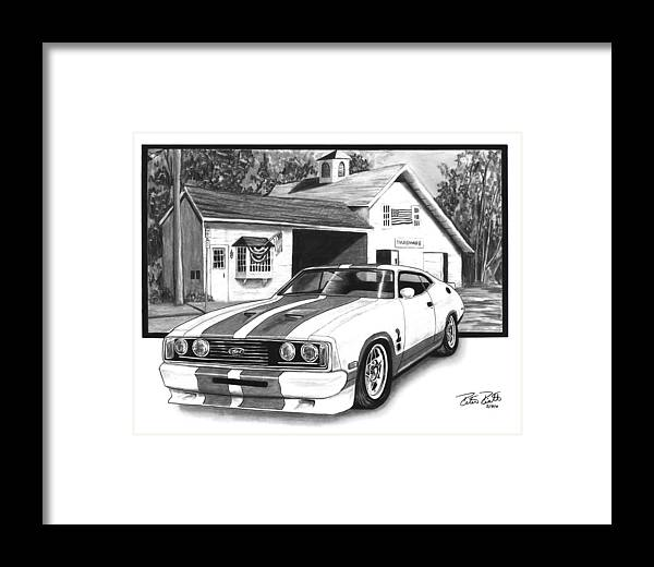 American Heartland 1978 Ford Cobra Framed Print featuring the drawing American Heartland by Peter Piatt