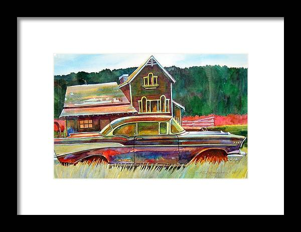 57 Chev Framed Print featuring the painting American Heritage by Ron Morrison
