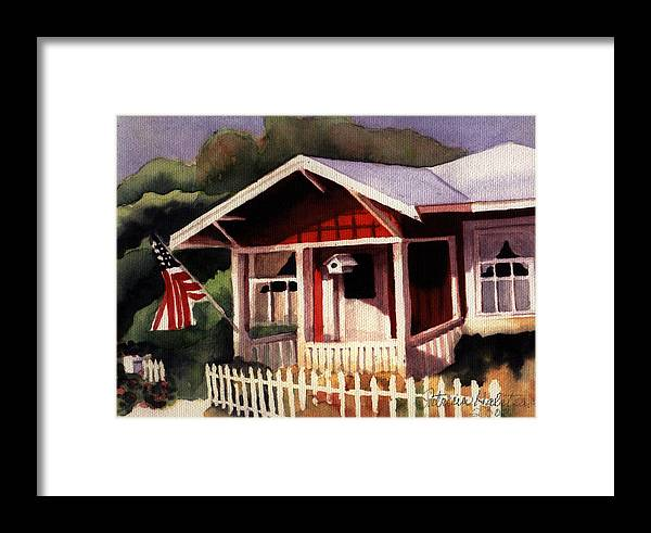 Watercolor Framed Print featuring the painting American Home by Patricia Halstead