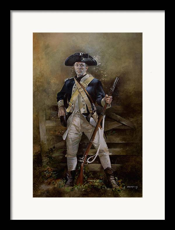 American War Of Independance Framed Print featuring the painting American Infantryman C.1777 by Chris Collingwood