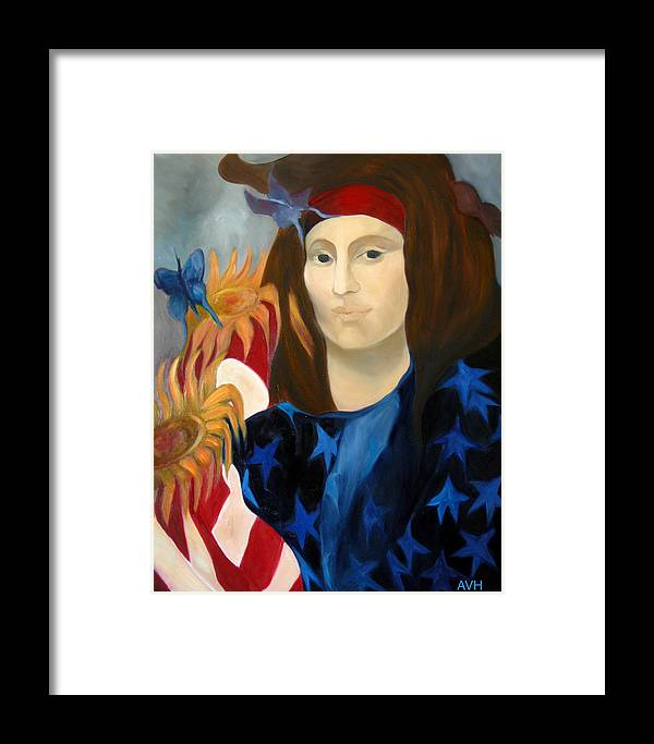 Figurative Framed Print featuring the painting American Jokonda by Antoaneta Melnikova- Hillman