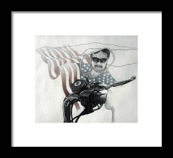 Motorcycles Harley American Flag Cycles Biker Framed Print featuring the drawing American Rider by Tony Ruggiero