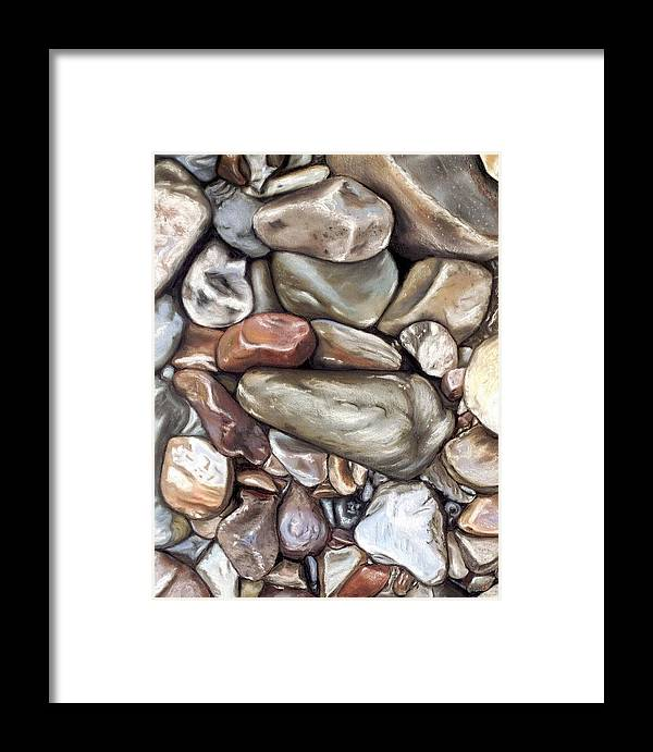 Rocks Framed Print featuring the painting American River Rocks by Brenda Williams