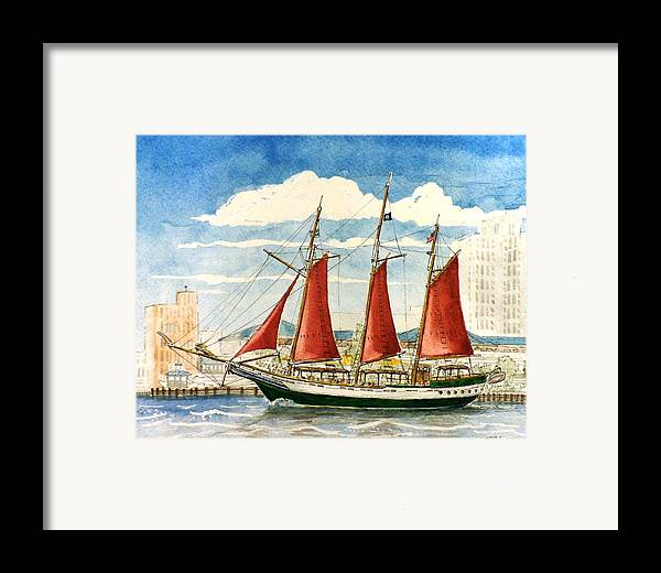 Ship Framed Print featuring the painting American Rover At Waterside by Vic Delnore