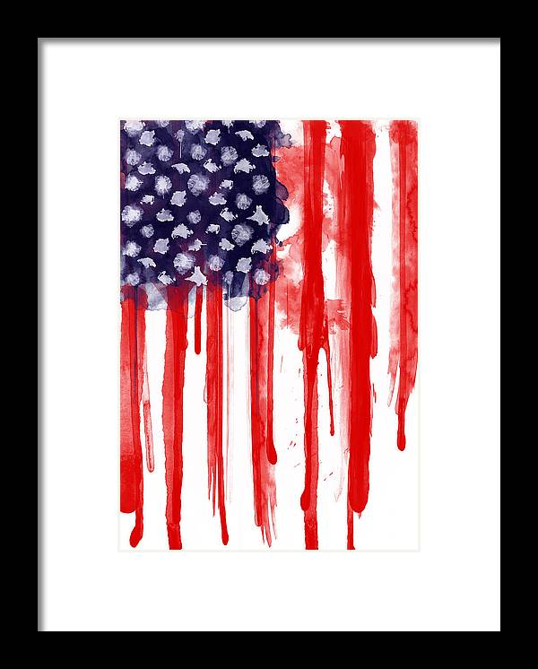 America Framed Print featuring the painting American Spatter Flag by Nicklas Gustafsson