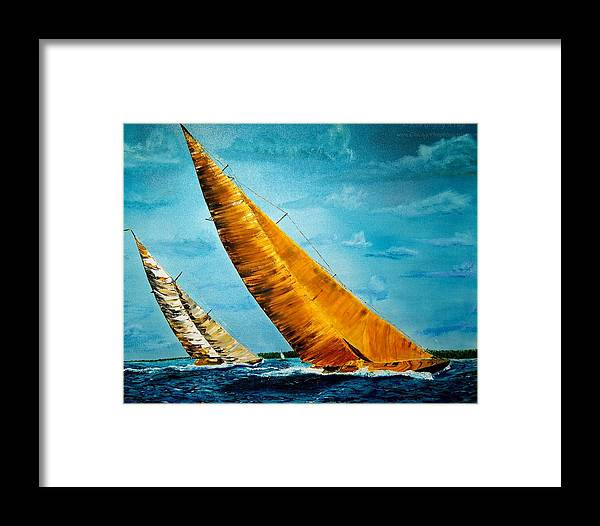America Framed Print featuring the painting Americas Cup Sailboat Race by Gregory Allen Page