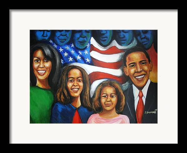 White House Framed Print featuring the painting America's First Family by Jan Gilmore