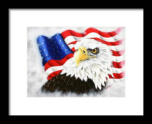 Eagle Framed Print featuring the painting Americas Pride by Ruth Bares