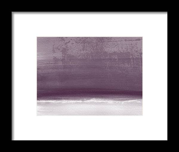 Beach Framed Print featuring the painting Amethyst Shoreline- Abstract Art By Linda Woods by Linda Woods