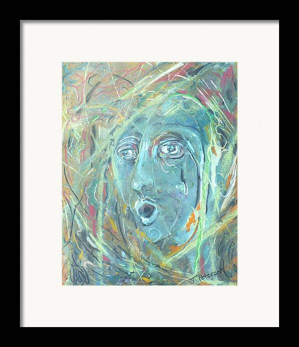 Abstract Framed Print featuring the painting Amid The Chaos Of The Day by Todd Peterson