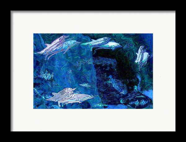 Dolphins Framed Print featuring the digital art Amidst Dolphins by Mushtaq Bhat