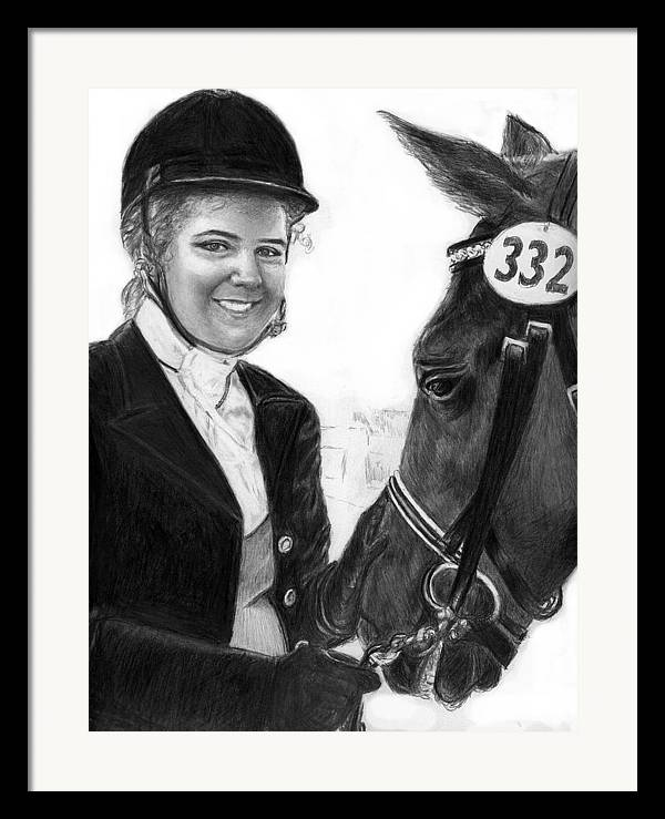 Horseequestrian Framed Print featuring the drawing Amira And Perias by Carliss Mora
