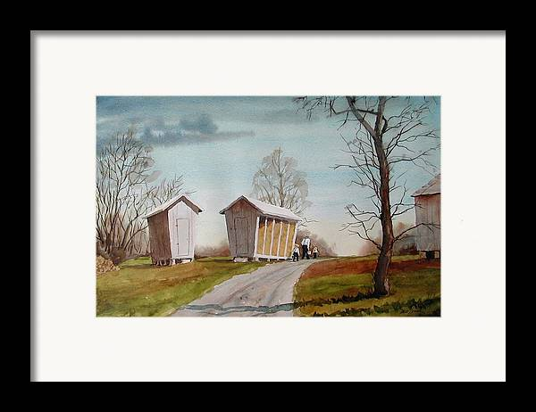 Farm Framed Print featuring the painting Amish Corncribs by Faye Ziegler