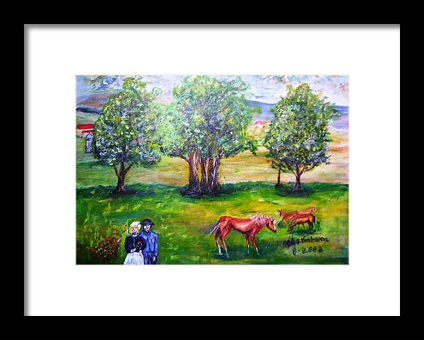 Landscape Horses Lovers Framed Print featuring the painting Amish Courtship At Berlin Ohio by Alfred P Verhoeven