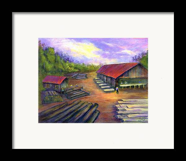 Amish Framed Print featuring the painting Amish Lumbermill by Gail Kirtz