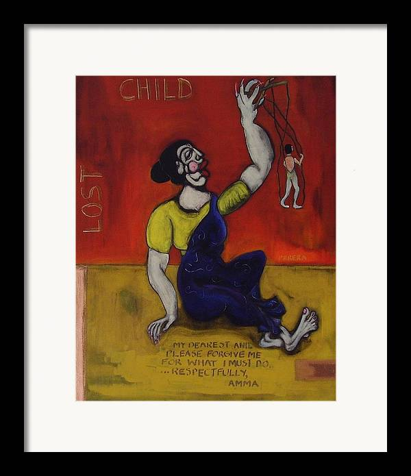 Contemporary Framed Print featuring the painting Amma - 3 by Maarten Perera