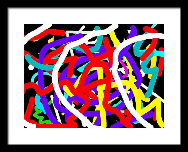 Digital Techno Abstract Expressionist Painting Framed Print featuring the painting Amor Y Alegria by Gilbert Joseph Alexander
