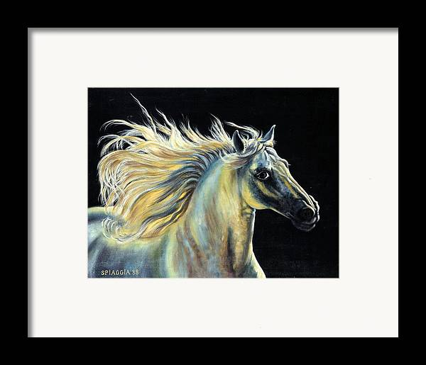 Horse Framed Print featuring the painting Amour D Etalon by Josette SPIAGGIA