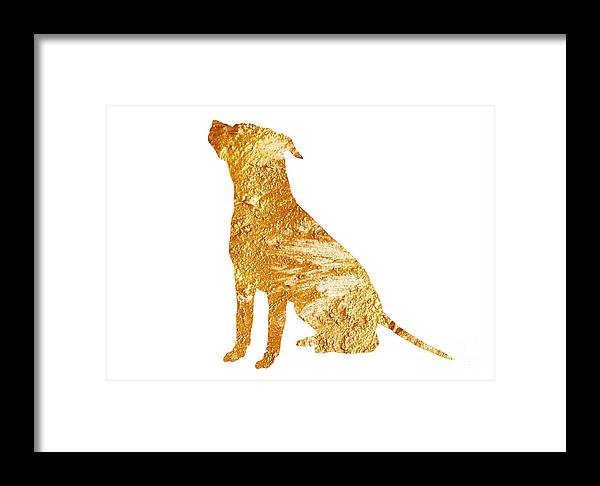 Abstract Framed Print featuring the painting Amstaff Gold Silhouette Large Poster by Joanna Szmerdt
