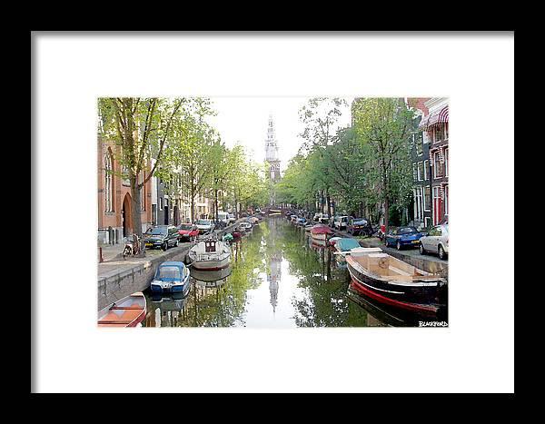 Amsterdam Framed Print featuring the digital art Amsterdam Canal by Al Blackford
