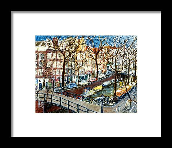 Cityscape Amsterdam Canal Trees Bridge Bicycle Water Sky Netherlands Boats Framed Print featuring the painting Amsterdam Canal by Joan De Bot