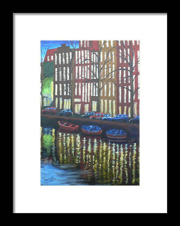 Canal Framed Print featuring the painting Amsterdam Evening by Dan Bozich
