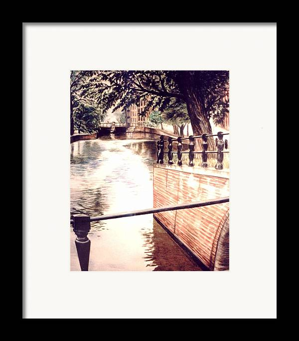 City Canal Framed Print featuring the drawing Amsterdam by L Lauter