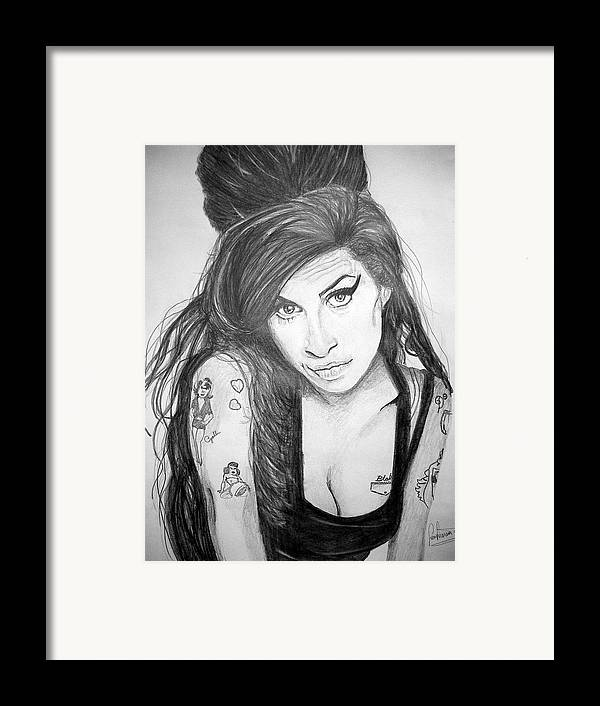 Celeb Portraits Framed Print featuring the drawing Amy Winehouse by Sean Leonard