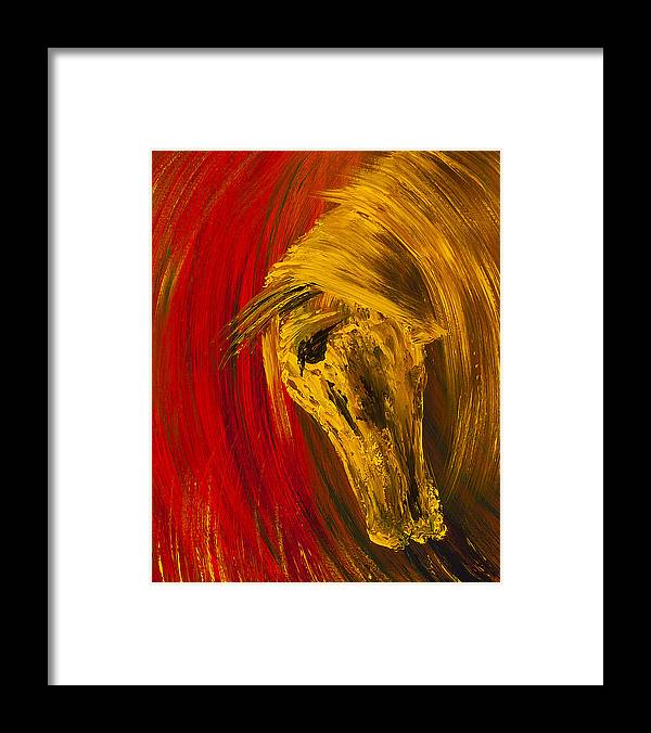 Horse Framed Print featuring the painting An Amber Soul by Nandita Albright