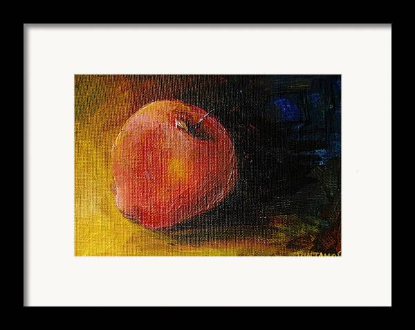 Apple Framed Print featuring the painting An Apple - A Solitude by Jun Jamosmos