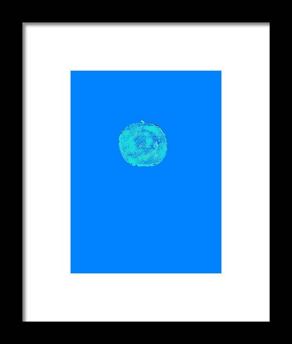Abstract Framed Print featuring the digital art An apple in blue by Joseph Ferguson