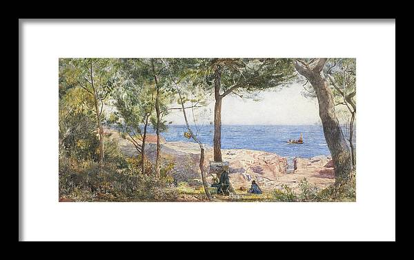 Cove Framed Print featuring the painting An Artist Painting By The Sea by John William Inchbold
