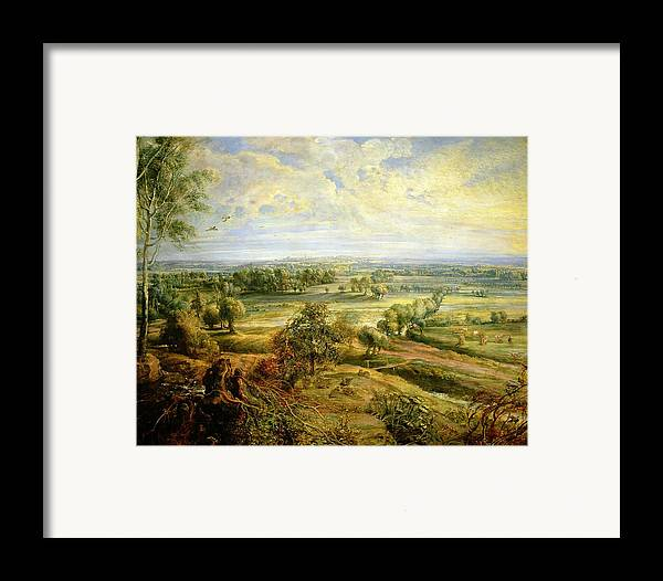 Autumn Framed Print featuring the painting An Autumn Landscape With A View Of Het Steen In The Early Morning by Rubens