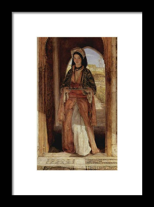 John Frederick Lewis(1804-1876)-orİentalİsm-(an Eastern Girl Carrying A Tray_1859) Framed Print featuring the painting An Eastern Girl Carrying by John Frederick