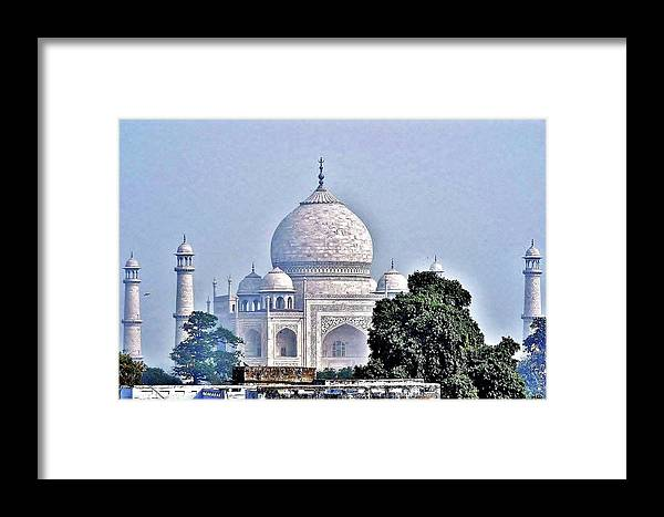 Taj Mahal Framed Print featuring the photograph An Extraordinary View - The Taj Mahal by Kim Bemis